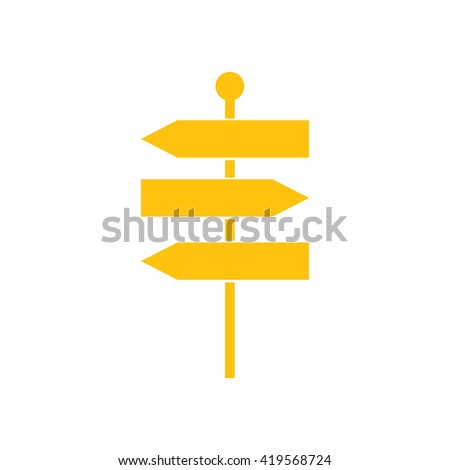 Yellow signpost vector icon illustration #419568724