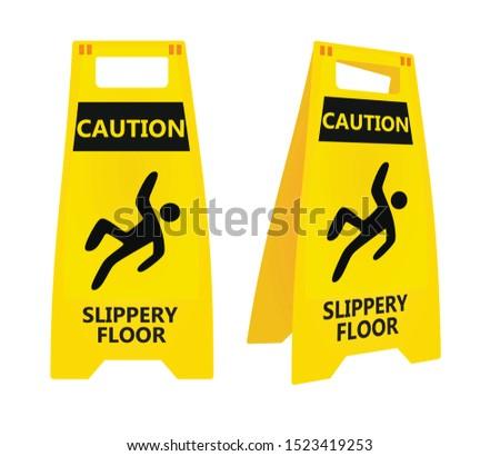 Yellow slippery floor sign. vector illustration