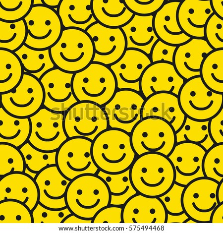 Yellow Smile Face Seamless Pattern. Vector Background