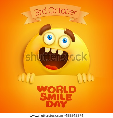 Yellow smile face. World smile day card template. Vector illustration