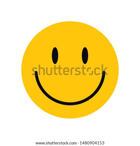 Yellow smiley face for your design. Happy smile card concept illustration. Сharacter for web or card design. Graphic element for background