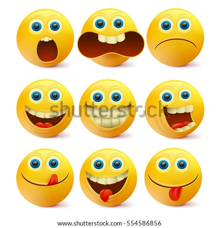 Yellow smiley faces. Emoji characters template Vector illustration