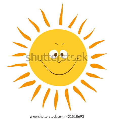 yellow smiling sun cartoon