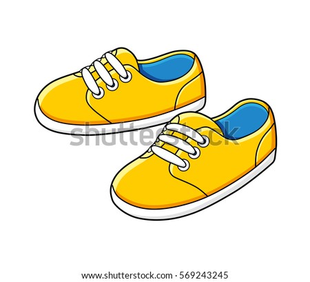 yellow sneakers vector isolated
