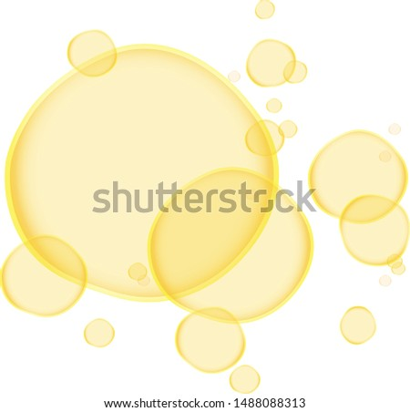 Yellow Soap bubbles. Cartoon Soap bubbles. Transparent Soap bubbles. Vector Soap bubbles.