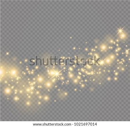 yellow sparks and stars shine with special light. Sparkling magical dust particles. The effect of a flare flare with a beam of light and magical brilliance. A comet on the sky.