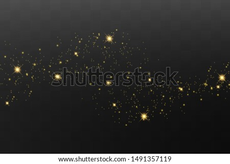 Yellow sparks glitter special light effect. Vector sparkles on dark background. Christmas abstract pattern. Sparkling magic dust particles