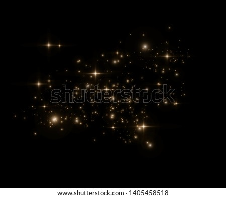 Yellow sparks glitter special light effect. Vector sparkles on transparent background. Christmas abstract pattern. Sparkling magic dust particles -