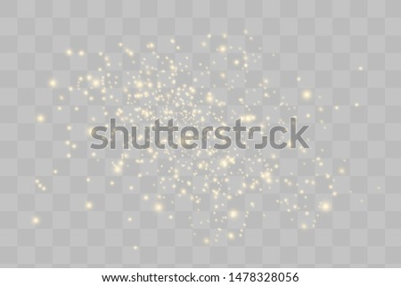 Yellow sparks glitter special light effect. Vector sparkles on transparent background. Christmas abstract pattern. Sparkling magic dust particles