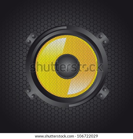 yellow speakers over grille background. vector illustration
