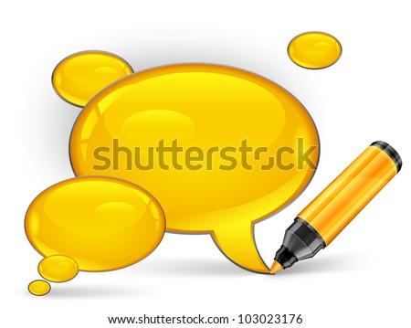 Yellow speech bubbles end felt tip pens on white, vector illustration - stock vector