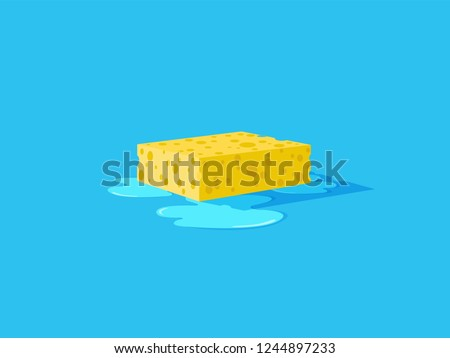 Yellow sponge with bubbles. Wet floor. Vector flat illustration. Foto stock ©