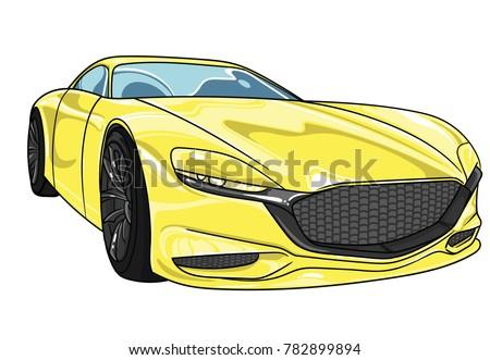yellow sport car mazda  vector