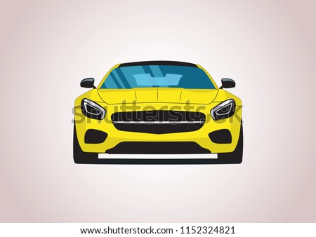 yellow sports car. Mercedes-AMG GT.