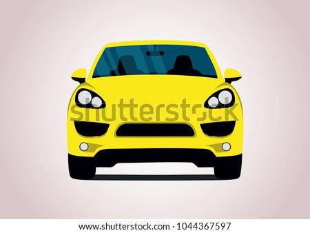 yellow sports car. Porsche Cayenne.