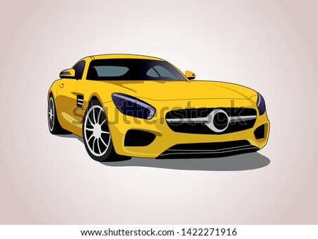 yellow sports car vector layout. Mercedes-AMG GT.