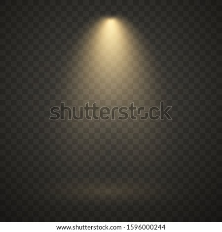 Yellow spotlight, bright light, golden stage lighting isolated on transparent background. Transparent vector effect.