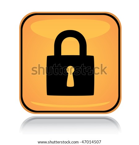 Yellow square icon locked padlock with reflection over white