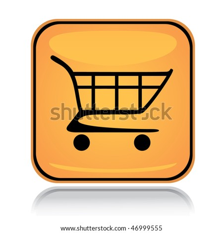 Yellow square icon shopping cart with reflection over white