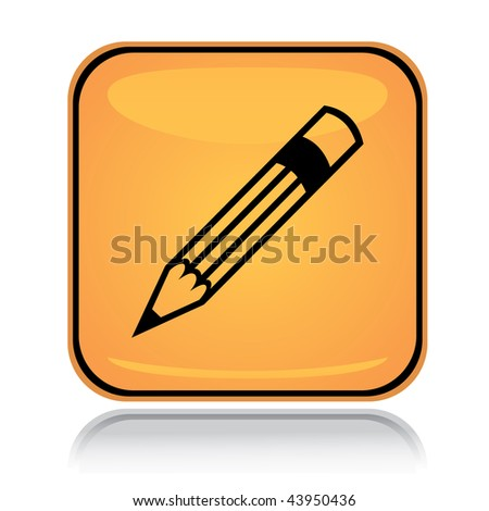 Yellow square icon writing pencil with reflection over white