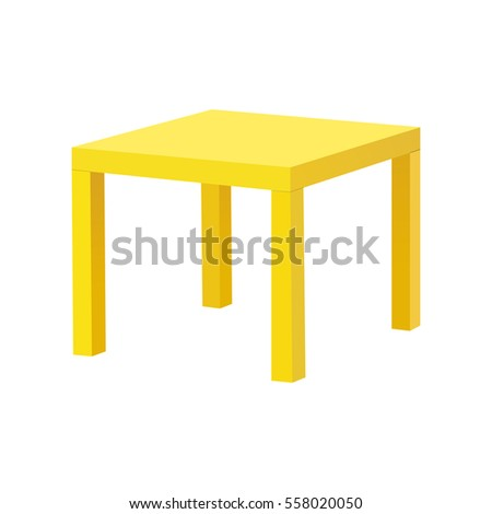 Yellow square table isolated on white background. Vector illustration