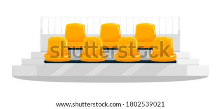 Yellow stadium seats semi flat RGB color vector illustration. Football, soccer supporters chairs. Fans seating. Outdoor concert bench rows. Isolated cartoon object on white background Сток-фото ©