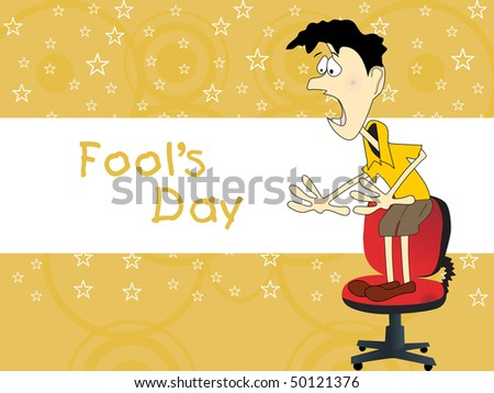 yellow star background with funny character stand on chair
