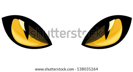 yellow staring cat eyes vector