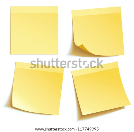 yellow stick note isolated on