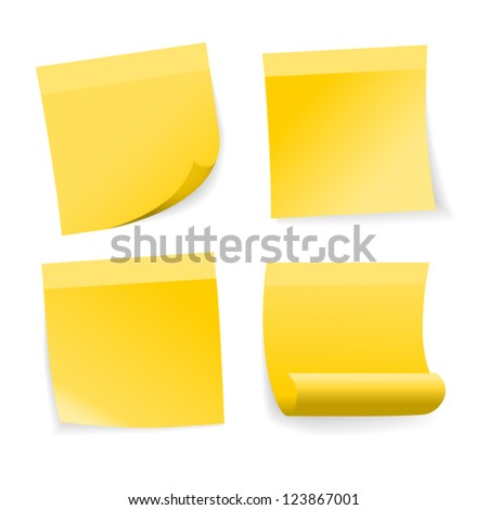 Yellow stick note set on white background, vector.