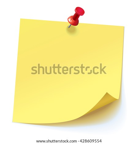 Yellow sticker pinned red pushbutton with curled corner, ready for your message. Vector illustration. Isolated on white background. Front view. Top view. Close up.