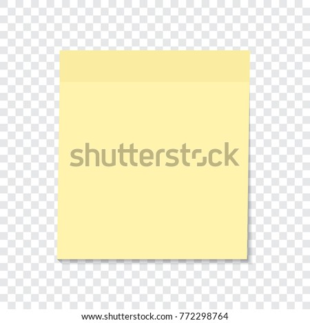 Yellow sticky note isolated on a transparent background. Vector element ready for your design, eps10