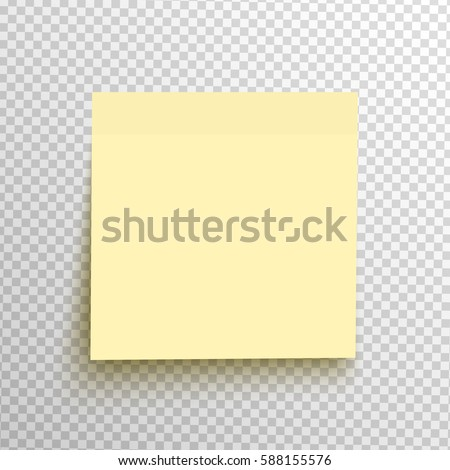 Yellow sticky note isolated on a transparent background. Vector post element ready for your design, eps10