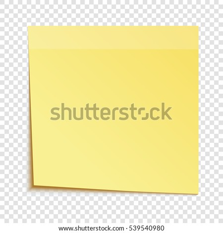 Yellow sticky note isolated on transparent background, vector illustration