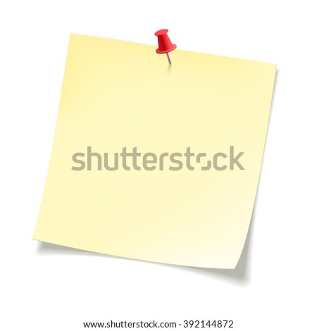 Yellow sticky note paper with curled corners .  Paper sheet for reminder and memo