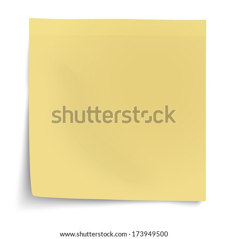 Yellow sticky note with turned up corner isolated on white background. Light from the right.