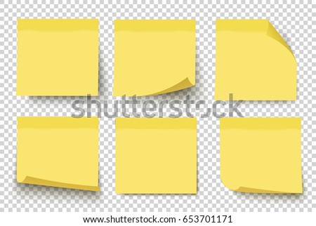 Yellow sticky notes. Vector illustration isolated on white background. Sticky note set with curled corners and shadows.