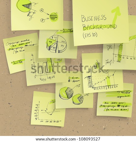 Yellow sticky notes with business infographics on cork board, closeup. All elements editable (available under clipping mask). Vector, EPS10 - stock vector