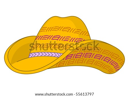 Yellow straw hat with the bent fields and the doubled top - stock vector