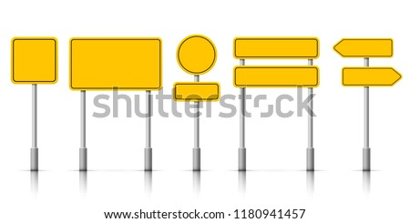 Yellow street road sign boards. Vector roadsign alert notice isolated on white background