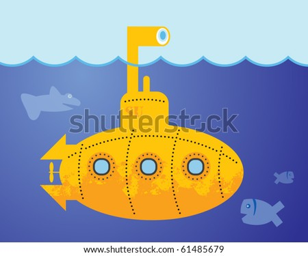 yellow submarine in to the sea