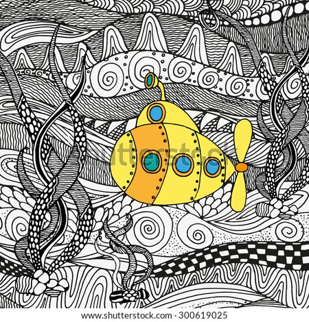yellow submarine sailing on the