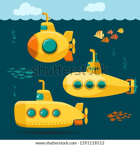 Yellow Submarine undersea with fishes, cartoon style, with periscope, bathyscaphe underwater ship, Diving Exploring At the Bottom of Sea Flat design. Vector