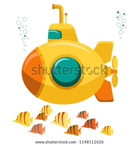 Yellow Submarine undersea with fishes, funny underwater boat with periscope. Flat design. Vector