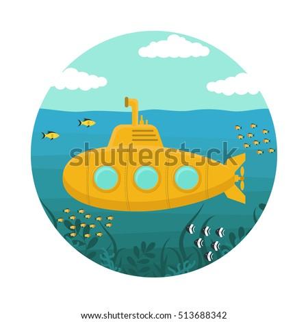yellow submarine underwater