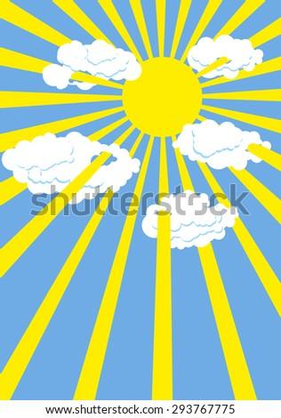 yellow summer sun blue sky
