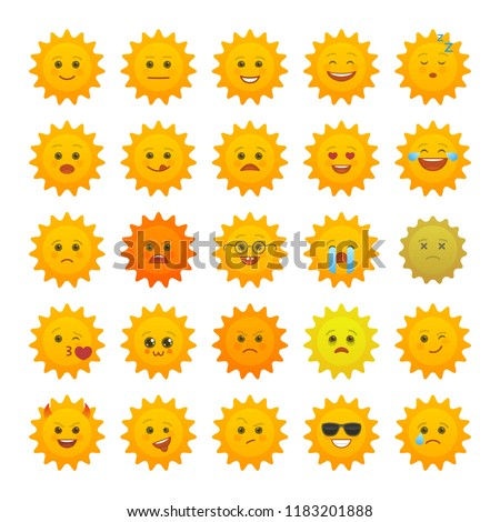 Yellow sun emoticons isolated set. Summer sun with angry, joy, love, sad, laugh, happy emoji. Social communication and weather widget. Faces with various emotions. Weather forecast vector elements