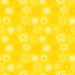 Yellow Sun Vector Seamless pattern. Hand drawn doodle Different Suns. Background for kids.
