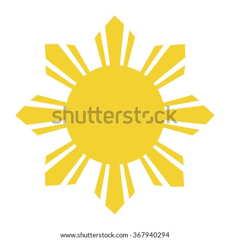 yellow sun with rays