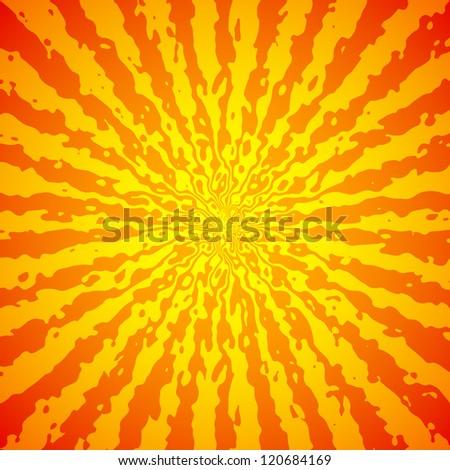 Yellow sunburst on orange vector image